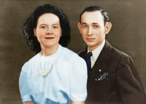 Mother and Daddy, in a portrait from the late 1940s